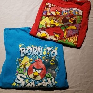 Two long sleeved angry birds shirts